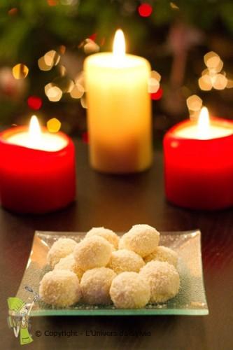 Truffes chocolat blanc-noix de coco