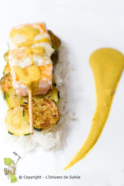 Brochette de poissons au curry