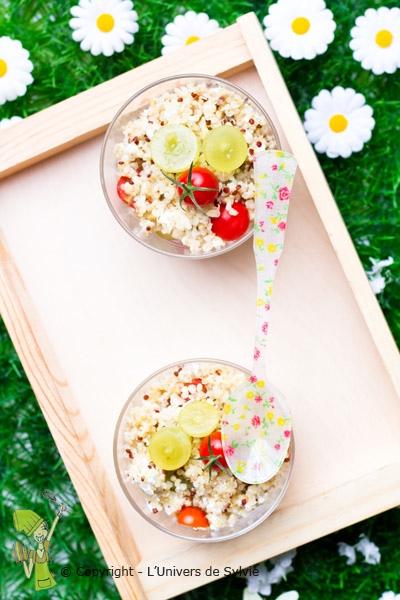 Salade de quinoa chèvre-raisins