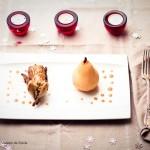 Caille farcie au foie gras et sa poire pochée à la cannelle