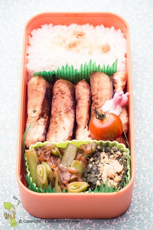 Bento poulet et légumes verts
