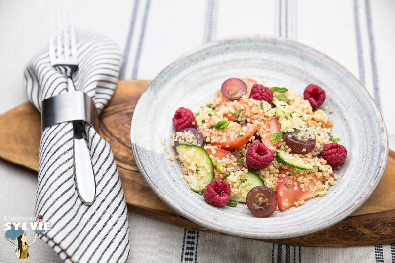 Salade de quinoa aux framboises