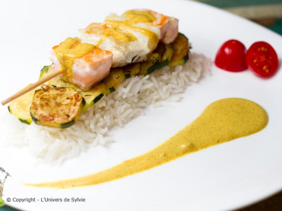 Brochette de poissons au curry
